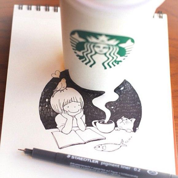 niña, gato y cafe