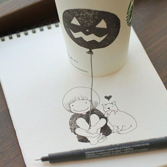 niña, gato y hallowen