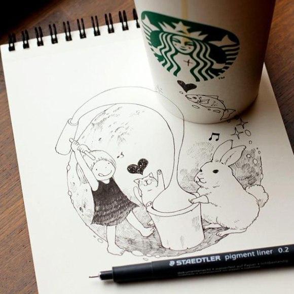 niña, gato y conejo