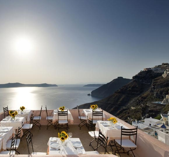 sphinx restaurant in Fira, Greece