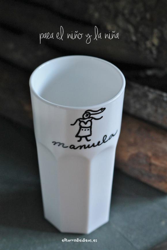 vasos pintados con rotulador