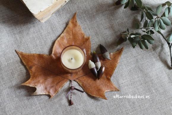 portavelas hojas secas