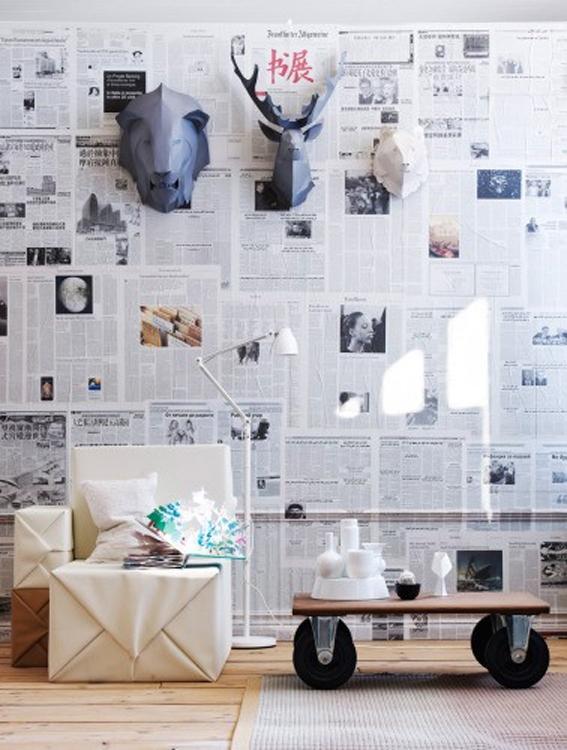 paredes con papel periódico